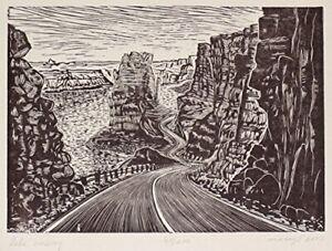 Original Wood Engraving Crossing the Lake Powell Southwest Colorado River Road
