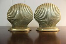 """Vintage Heavy Brass Shell Bookends Clam Shell Scalloped Shell Beach Decor 5"""""""