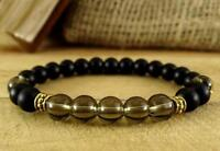 8mm obsidian Crystal Bracelet Stretchy Monk yoga men Lucky Meditation Bead pray