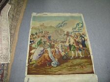 """VINTAG HAND STITCHED WOOL-WORK TAPESTRY GOBELIN FRENCH SCENE 23"""" X 28"""""""