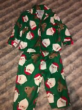 Carters Baby Boy 12 M Chrismas Outfit Pajama Xmas Santa Green Red Pants Shirt