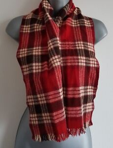 Ladies Mens Scarf VINTAGE Country Check Wool Retro Classic Red/White/Black L17