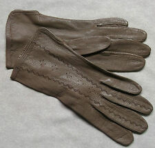 VINTAGE WOMENS LEATHER SOFT BROWN GLOVES 1960'S 1970'S RETRO SMALL MEDIUM 6.5