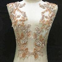 Rose Gold Rhinestone Appliques Bling Diamante Bridal Applique for Wedding Dress