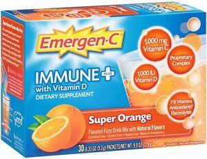 EMERGEN-C Immune Plus Vitamin D Zinc SUPER ORANGE Dietary Supplement - 30 Count