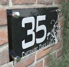 House Door Number Plaque Wall Gate Sign Name Plate Clear Acrylic Dec4-10WB