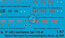 Peddinghaus 1/87 (HO) Various Tiger I Tank Markings No.4 1943-45 (6 tanks) 1600