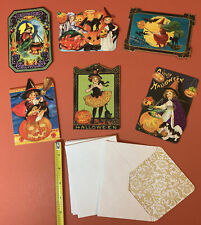 6 Punch Studio Vintage Inspired Halloween Witch Cat Blank Note Cards W Envelopes