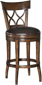 ENGLISH REGENCY STYLE COUNTER STOOL  DISTRESSED WOOD  LEATHER SWIVEL SEAT