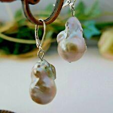 Ohrringe Echte Perlen Barock Riesig 16x26mm Lila Flieder Violett, 925er Silber
