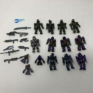 Lot 14 Mega Bloks Halo Construx Figures Plus Weapons Green Spartan