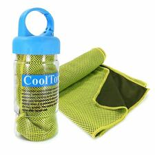 TUFF LUV Microfibre Sports Cooling Gym Towel - UPF 50 & Sports Bottle - Green