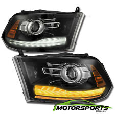[Polished Black New Ram Style] 2009-2018 Dodge Ram LED DRL Projector Headlights