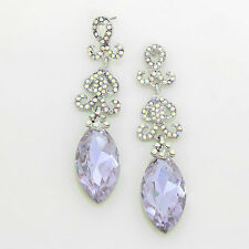 "WHIMSICAL Silver Violet Crystal 3"" LONG Cocktail  Earrings By Rocks Boutique"