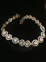 Pave 2,15 Cts Runde Brilliant Cut Diamanten Tennis Armband In 585 Feine 14K Gold