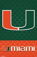 University of MIAMI HURRICANES Official NCAA Team Logo Wall POSTER - New!