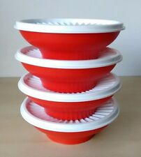 Tupperware 4 Servalier Cereal Salad  Bowl Container 2 cup Red/White Seal New