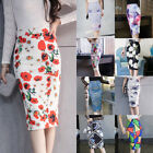 Women's High Waisted Plain Midi Pencil Bodycon Stretch Wear to Work Office Skirt