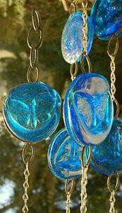 Erik Hoglund Blue Pressed Glass Butterfly Pendant Chain