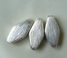 Sterling Silver Focal/spacer Beads Brushed Mat Finish 14x7MM  3-total