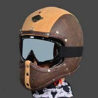 Vintage Motorcycle Helmet Full Face Deluxe PU Leather Cruiser Street Racing Bike