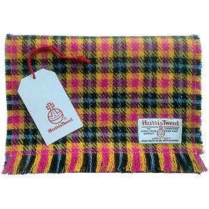 Harris Tweed Mustard Yellow Pink Blue & Black Check Pure Wool Fringed Scarf