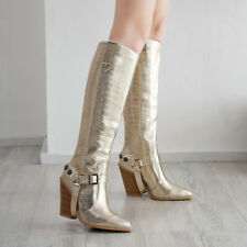 Autumn women boots fashion buckle knee high boots Pu leather wedge high heel