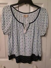 Hollister Junior Woman's Blue White Green Floral Polk Dot Peasant Top, Size S