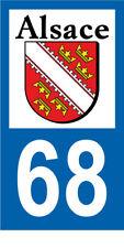 Département 68 MOTO 1 autocollant style plaque moto 3 x 6 cm ALSACE