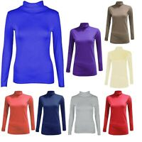 Women's Polo Roll Turtle Neck Long Sleeve Plain Stretch Jumper Pullover Top