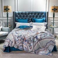 Navy Duvet Cover Luxury Egyptian Cotton Bedding Sets Flat/Bed Sheet Sheet 4Pcs