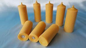 Bougie pilier 100% cire d'abeille Eco 150 mm H Dia.50 mm 8 x 125 g Fait Main