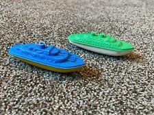 Lot of 2 Vintage 1950s Banner Hard Plastic Toy Battleship Boat Blue Green