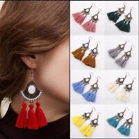 New Women Vintage Pearl Bohemia Earrings Tassel Fringe Boho Ear Hook Drop Dangle