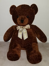 "Golden Bear Co Big Brown Teddy Bear Plush 24"" Stuffed Animal Happy Holidays Bow"