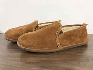 Mens Minnetonka Slippers Brown Suede Leather Faux Fur Lining Size 13