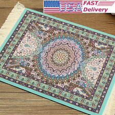 Mini Woven Rug Mouse Pad Blue Persian Style Carpet Mousemat With Fringe 11''x7''