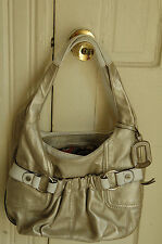 Tignanello Glove Leather Metallic Silver A-Line Shopper/ handbag w/Contrast Trim