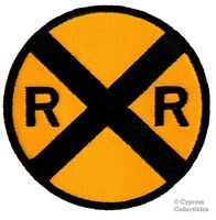 RAILROAD XING PATCH embroidered iron-on ROAD SIGN TRAIN RR CROSSING Railway NEW