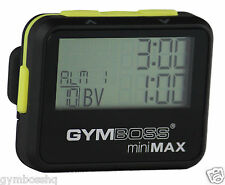 Gymboss Minimax INTERVAL temporizador y cronómetro Negro Amarillo softcoat enviado FR UK