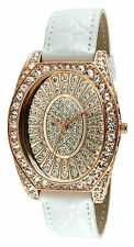 PEUGEOT Couture J2981rg Rose Gold Crystal Case White Leather Watch