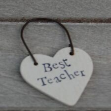 East of India Best Teacher Wooden Gift Tag - Teacher Gift - Christmas - End Term