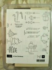 Rare Stampin' Up CUTE CHRISTMAS wood stamp set Snowman mittens holiday stockings