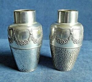 """Good PAIR 6"""" ~ SILVER Plated ~ VASES ~ c1925 by WMF"""