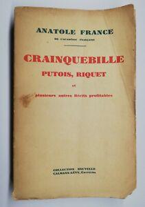 Rare Livre Ancien Crainquebille Putois Riquet De Anatole France 1930