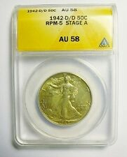 1942 D/D WALKING LIBERTY HALF DOLLAR RPM 5 STAGE A ANACS AU58 ONLY 5 KNOWN