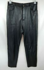 Reflections Black 100% Leather 5 Pocket Lined Pants Womens Size 10 Very Nice Hot