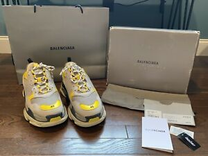 Balenciaga Triple S Gray Yellow Runners Sneakers Sz 46 EUR / 13 US BRAND NEW