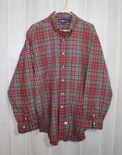 Ralph Lauren Long Sleeve Multi Red Plaid Button Front Men's Cotton Shirt Size XL