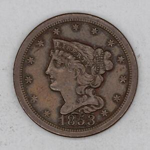 1853 BRAIDED HAIR HALF CENT 1/2C CHOICE AU++ ABOUT UNCIRCULATED PLUS (2652)